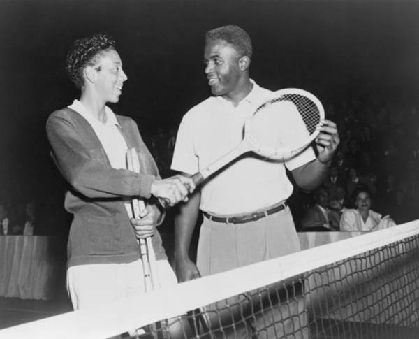 Brooklyn Dodgers Photograph - Althea Gibson 1927-2003 And Jackie by Everett