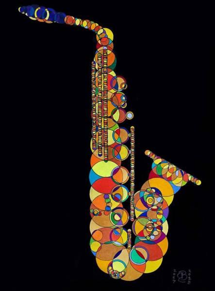 Bugling Drawing - Alto Saxophone by Robert Bedard
