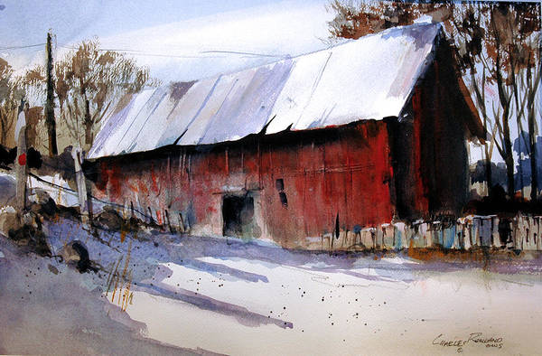 Painting - Alum Creek Barn by Charles Rowland