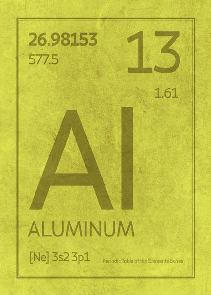 Atomic Number Wall Art - Mixed Media - Aluminum Element Symbol Periodic Table Series 013 by Design Turnpike