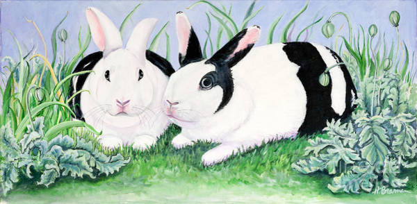 Holly Brannan Wall Art - Painting - Aly's Bunnies by Holly Bartlett Brannan