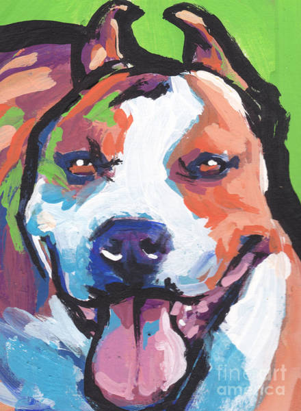 Staffordshire Wall Art - Painting - Am Staffy Happy by Lea S