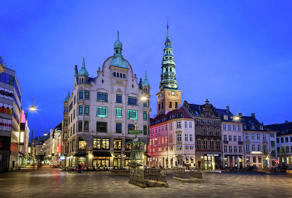 Kopenhagen Photograph - Amagertorv Square And Stork Fountain In The Old Town Of Copenhag by Andrey Omelyanchuk