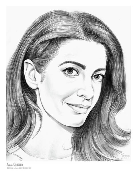 Wall Art - Drawing - Amal Clooney by Greg Joens