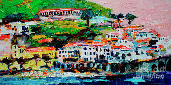 Painting - Amalfi Coast And Pink Sky  by Ginette Callaway