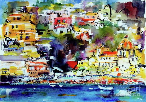 Painting - Amalfi Coast Positano Summer Vibrations by Ginette Callaway