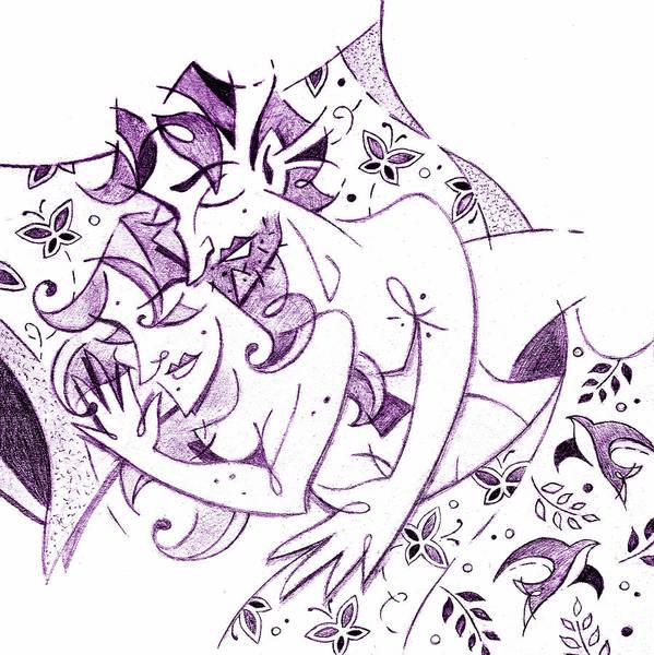 Wall Art - Drawing - Amanti - Lovers Spring Feeling - Sweet Dreams Illustration by Arte Venezia