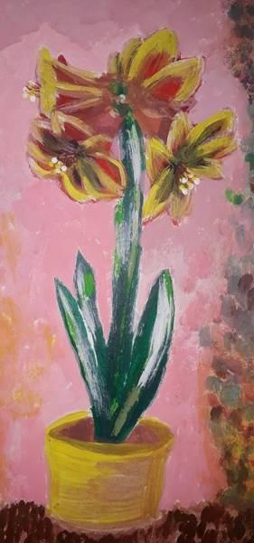 Acrilic Painting - Amarillis by Maria Lenilda Oliveira