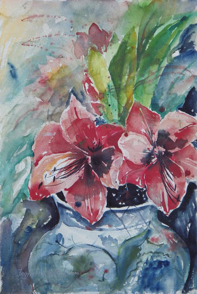 Red Amaryllis Painting - Amaryllis by Ingrid Dohm