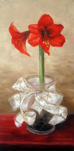 Amaryllis Painting - Amaryllis by Karin  Leonard