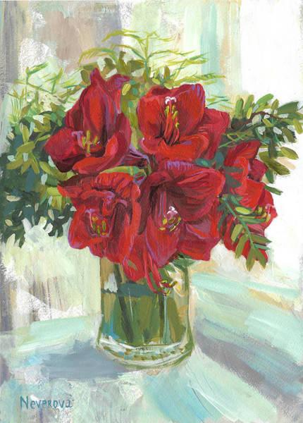 Amaryllis Painting - Amaryllis by Maria Neverova