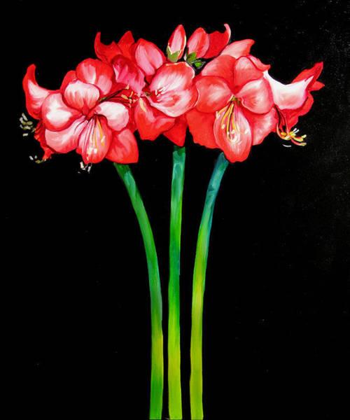 Red Amaryllis Painting - Amaryllis Trio by Marcia Baldwin
