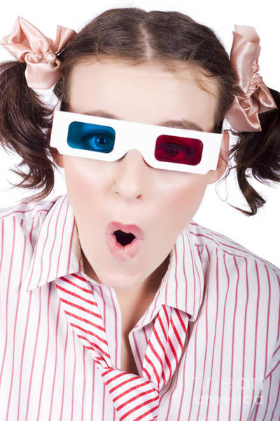 Anaglyph Photograph - Amazed Woman Watching 3d Movie In Glasses by Jorgo Photography - Wall Art Gallery