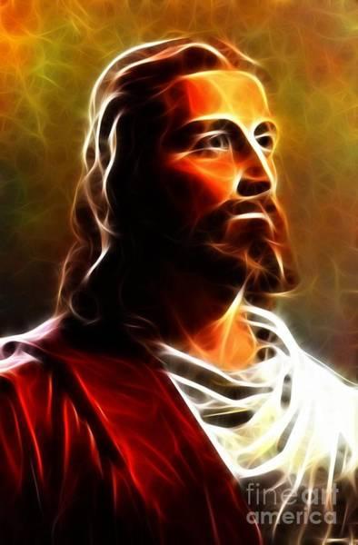 Crucifiction Wall Art - Mixed Media - Amazing Jesus Portrait by Pamela Johnson