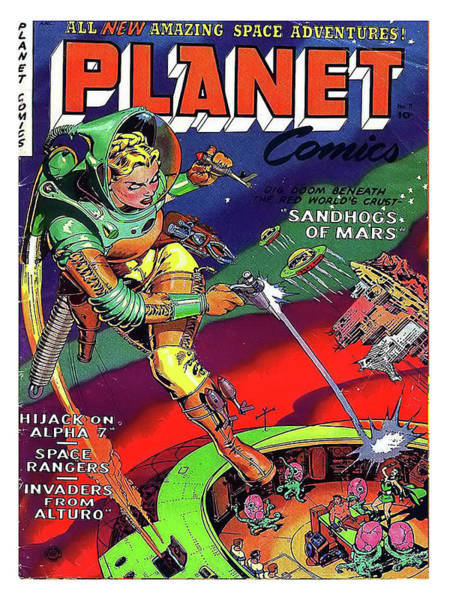 Wall Art - Painting - Amazing Space Adventures, Sci-fi Comic Book Cover by Long Shot