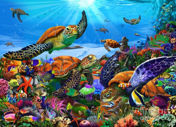 Reef Digital Art - Amazing Undersea Turtles by MGL Meiklejohn Graphics Licensing