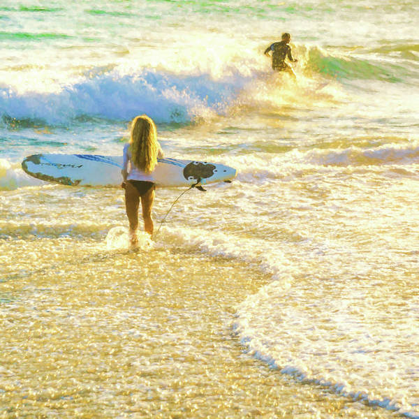 Photograph - Amazing View 4 Surfing Watercolor by Scott Campbell
