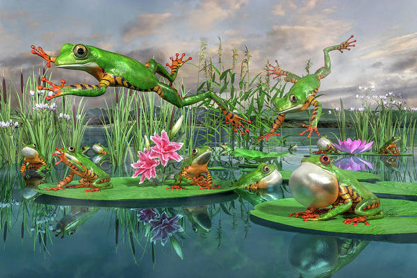 Pads Digital Art - Amazon Frogs Welcoming Spring by Betsy Knapp