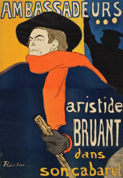 Lithography Wall Art - Painting - Ambassadors Aristide Bruant by Henri de Toulouse-Lautrec