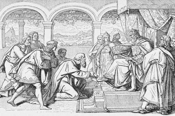 Wall Art - Drawing - Ambassadors Of Haroun Al Raschid Before Charlemagne by French School
