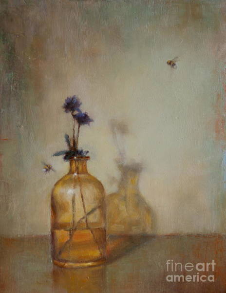 Bumble Bee Wall Art - Painting - Amber Bottle And Bees  by Lori  McNee