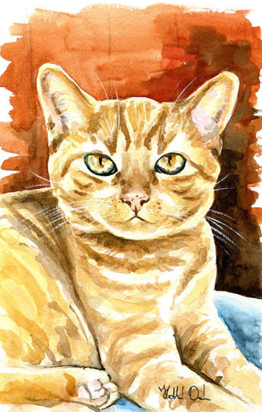 Painting - Amber Eyes - Orange Tabby Cat Painting by Dora Hathazi Mendes