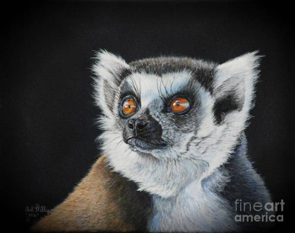 Painting - Amber Eyes......lemur by Bob Williams
