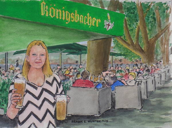 Bier Painting - Amber In A Koblenz German Bier Garten by Frank Hunter