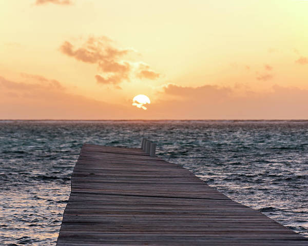 Ambergris Caye Photograph - Ambergris Caye Pier At Sunrise San Pedro by Toby McGuire
