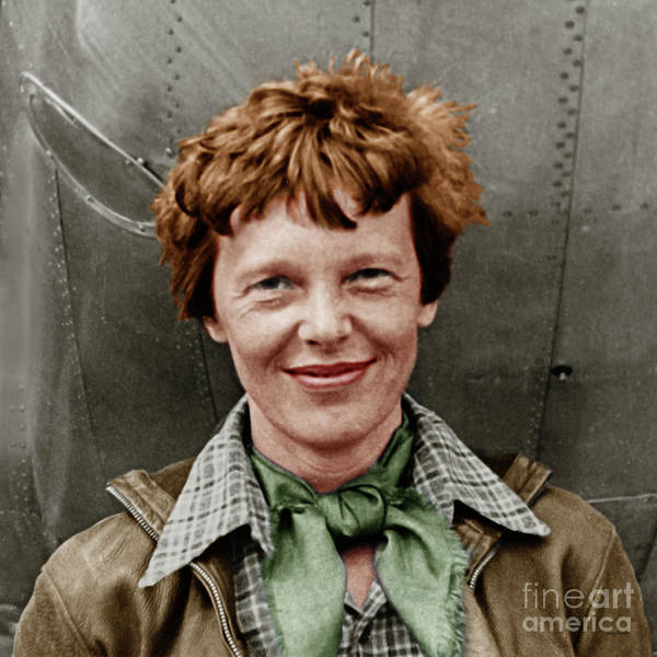 Photograph - Amelia Earhart American Aviation Pioneer Colorized 20170525 Square by Wingsdomain Art and Photography