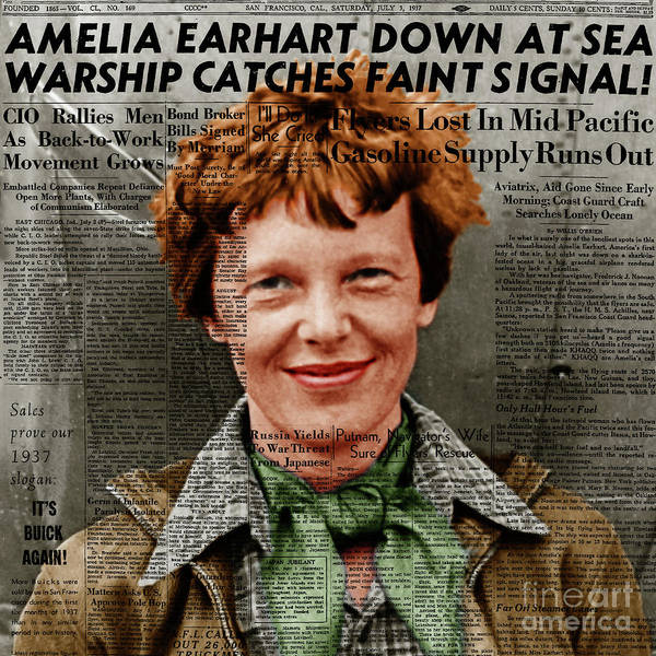 Photograph - Amelia Earhart American Aviation Pioneer Colorized 20170525 Square With Newspaper by Wingsdomain Art and Photography