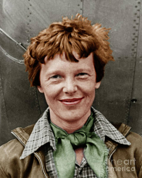Photograph - Amelia Earhart American Aviation Pioneer Colorized 20170525 Vertical by Wingsdomain Art and Photography