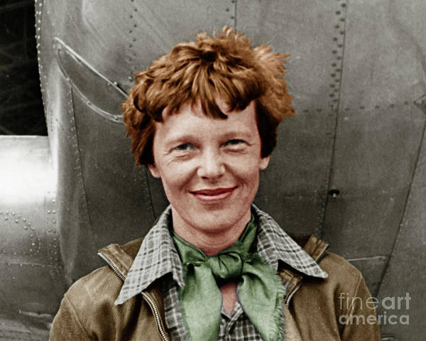 Photograph - Amelia Earhart American Aviation Pioneer Colorized 20170525 by Wingsdomain Art and Photography