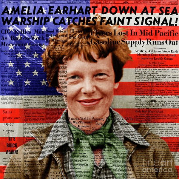 Photograph - Amelia Earhart American Aviation Pioneer Colorized 20170525a Square With Newspaper And American Flag by Wingsdomain Art and Photography