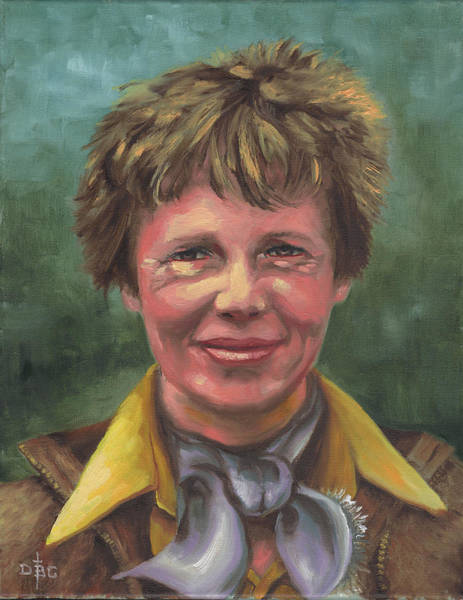 Painting - Amelia Earhart by David Bader
