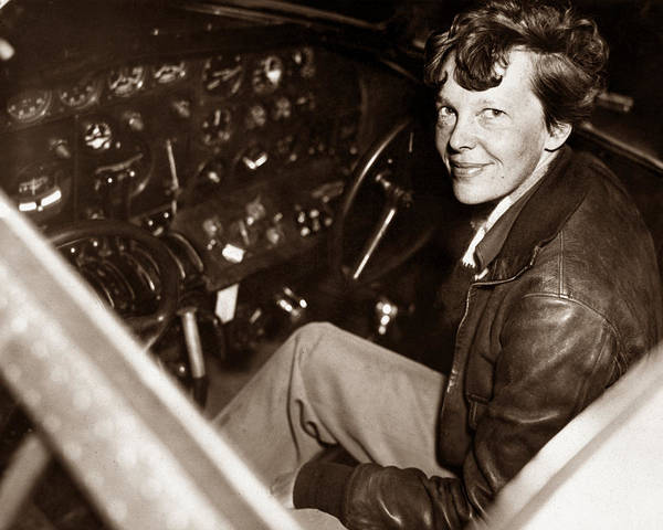 Pilot Photograph - Amelia Earhart Sitting In Airplane Cockpit by War Is Hell Store