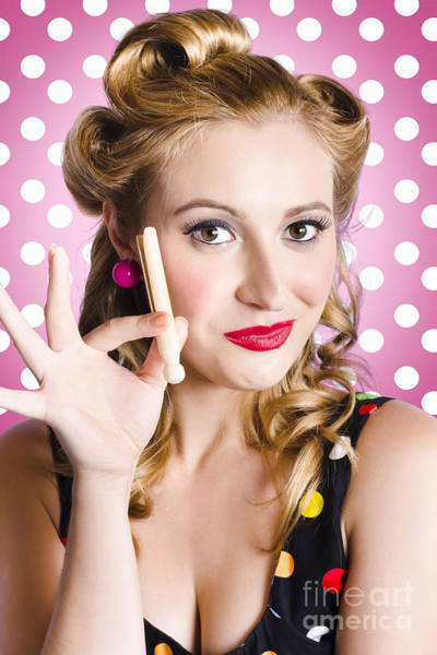 Photograph - Amercian Pinup Girl With Laundry Peg by Jorgo Photography - Wall Art Gallery