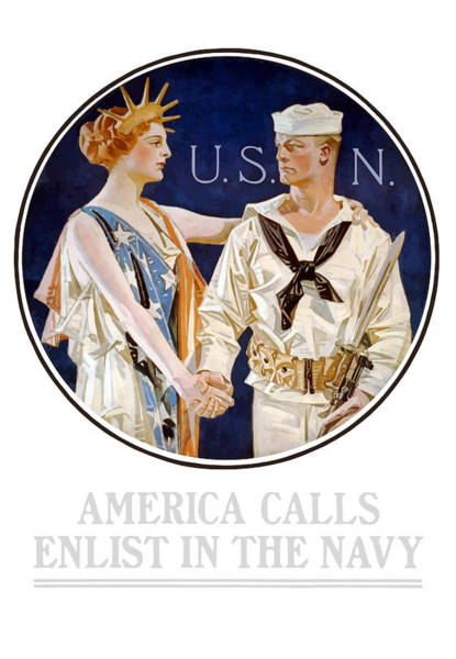 Lady Painting - America Calls Enlist In The Navy by War Is Hell Store
