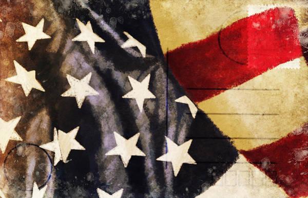 Aging Photograph - America Flag Pattern Postcard by Setsiri Silapasuwanchai