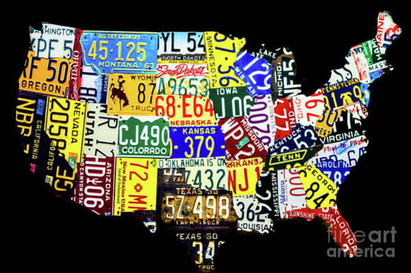 Photograph - Us License Plate Map by Miles Whittingham