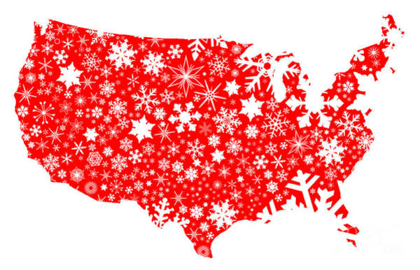 Perforations Digital Art - America Map Christmas by Bigalbaloo Stock