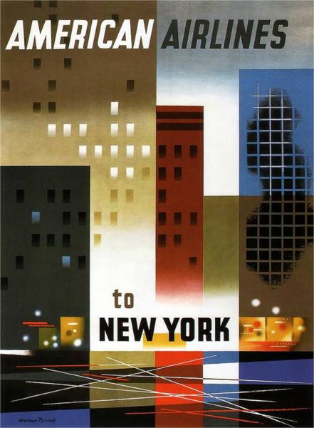 Wall Art - Painting - American Airlines To New York - Abstract Geometric Vintage Poster by Studio Grafiikka