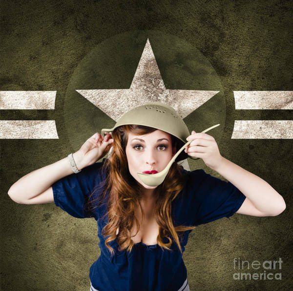 Colander Wall Art - Photograph - American Army Pinup Girl. Grunge Fashion Style by Jorgo Photography - Wall Art Gallery