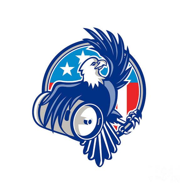 Drum Circle Wall Art - Digital Art - American Bald Eagle Beer Keg Flag Circle Retro by Aloysius Patrimonio