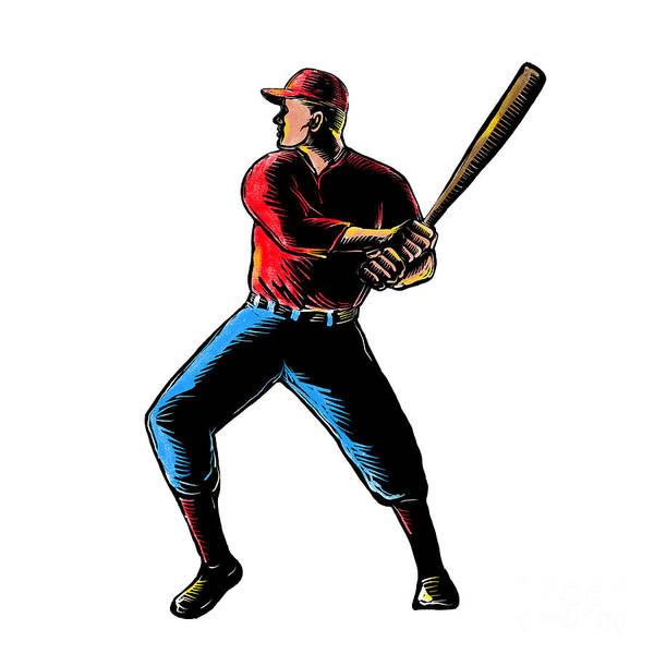 Scratchboard Wall Art - Digital Art - American Baseball Player Batting Scratchboard by Aloysius Patrimonio