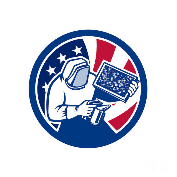 Beehive Digital Art - American Beekeeper Usa Flag Icon by Aloysius Patrimonio