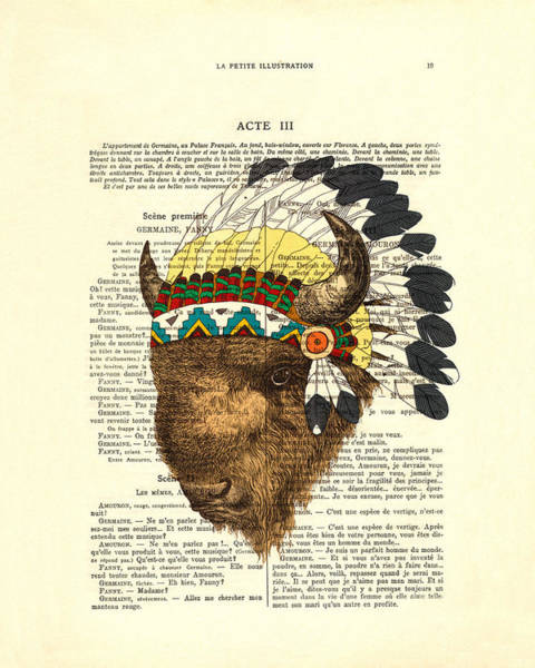 Vintage Books Wall Art - Digital Art - American Bison - Buffalo With Indian Headdress by Madame Memento