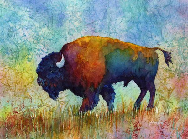 Batik Wall Art - Painting - American Buffalo 5 by Hailey E Herrera