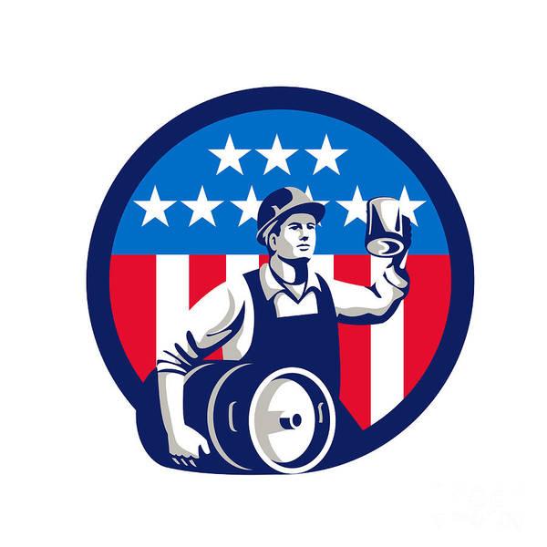 Drum Circle Wall Art - Digital Art - American Builder Beer Keg Flag Circle Retro by Aloysius Patrimonio