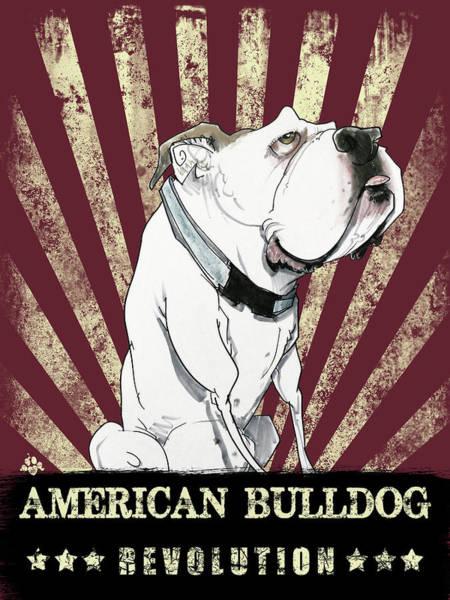 Drawing - American Bulldog by John LaFree